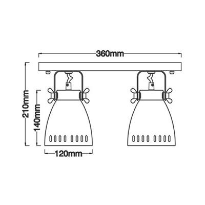 Размеры светильника HN5050-2K